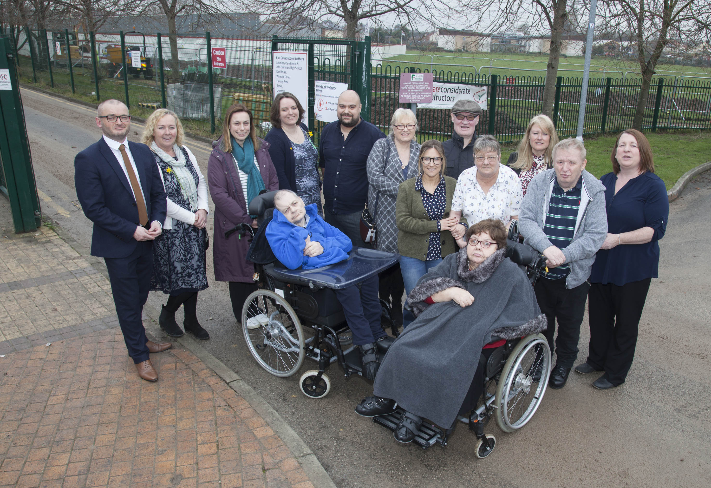 Flintshire County Council, Hft and Service users close to the construction site where the new centre is being built